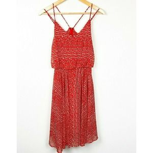 Leith Red Strappy Blouson Loose Dress Animal Print